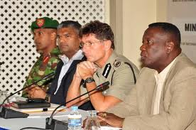 The Hot Shot Top CoP Dwayne Gibbs (centre) during a SoE security briefing.