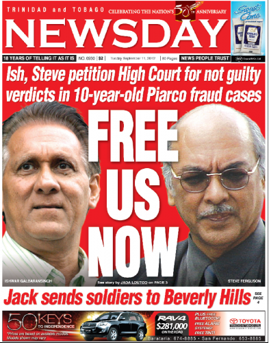 Ish and Steve on Newday Front Page courtesy Newsday's Website