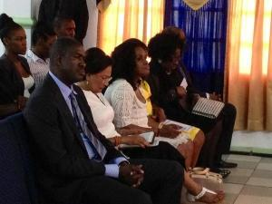 Ashworth Jack, Kamla Persad-Bissesar, Jearlean John and vernella Toppin at church in Plymouth.