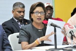 Kamla announcing SoE