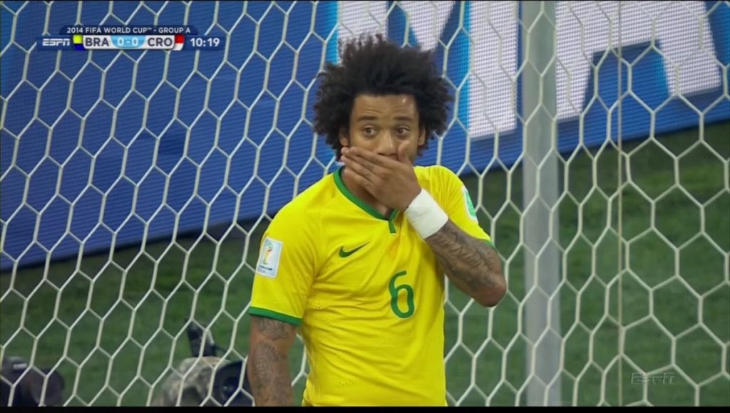 Marcelo stunned by his own goal...the first goal of WC 2014.