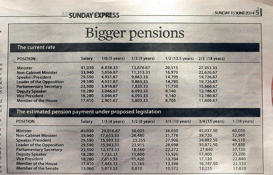Snapshot of what the old and new pensions look like. Infographic courtesy Trinidad Express.