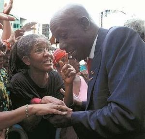 Activist Dr Merle Hodge greets Opposition Leader Dr Keith Rowley prior to the sitting. Photo courtesy Trinidad Guardian website.