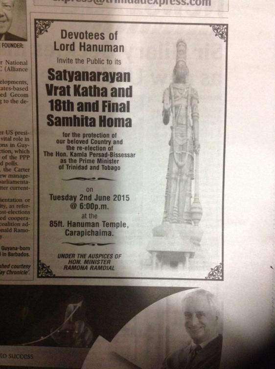 The notice for Hanooman Pooja in Trinidad Express, June 1st, 2015, p 17